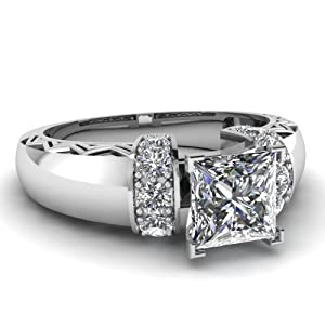 1.15 Ct Princess Cut:Ideal Diamond Archaic Style Engagement Ring H-Color GIA Certificate # 6157216532
