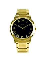 PHQ Classy American Golden Analogue Black Dial Men's Watch - CLS 032