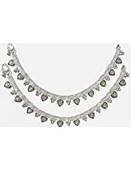 DollsofIndia Pair Of Stone Studded Gorgeous White Metal Anklet - 10 Inches Each - White