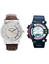Calibro Silver-White Men's And White MTG 014 Watch- Pack Of 2