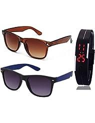 BROWN WAYFARER SUNGLASSES AND WAYFARER BLACK BLUE SUNGLASSES WITH TPU BAND RED LED DIGITAL BLACK DIAL UNISEX WATCH