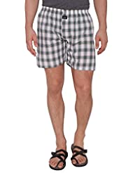 Nick&Jess Mens Brown & Green Checkered 100% Cotton Boxer Shorts(Pack Of 1)