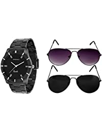 Casado Analogue Black Dial Men'S Watch Combo Of 1 Watch + 2 Avaitor-123And3Avi6Avi