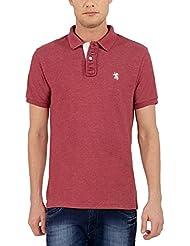 The Cotton Company Men's Luxury Cotton Polo T Shirt - Maroon Melange