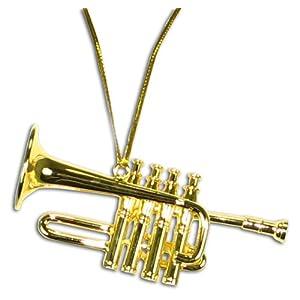 """Miniature Brass High Trumpet Christmas Ornament 2.5"""""""