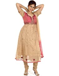 Exotic India Beige And Pink Anarkali Suit With Sequins And Beadwork - Beige