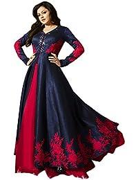 Royal Export Women's Bangalori Silk Mirror Blue Anarkali Salwar Suit