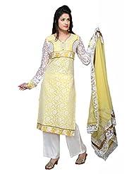 Lemon/Off White Brasso/Faux Crepe Straight Salwar Kameez For Ladies