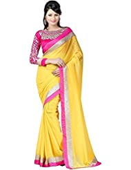 FabPandora Multi Colored Embroidered Faux Georgette Saree With Blouse Piece