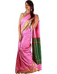 Indian Pink Casual Wear Art Silk Saree Plain Zari Border Work Sari