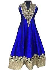HD Fashion Women's Semi Stitched Blue Anarkali Dress Material Full Length Party Wear Salwar Suit
