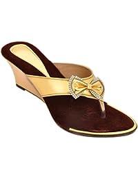 Altek Designer Golden Patent Women Wedges (1370_gold)