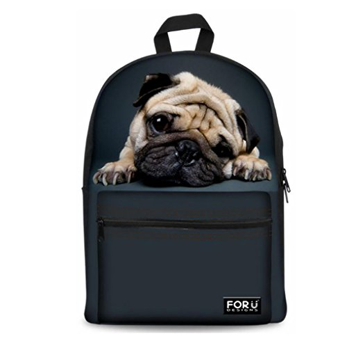 Redmid Backpack School bags,FOR U DESIGNS Casual Daypacks Cute Kitty Best School Backpack Rucksack Back Pack Fits 15.6 inch Laptop (Pug 2)