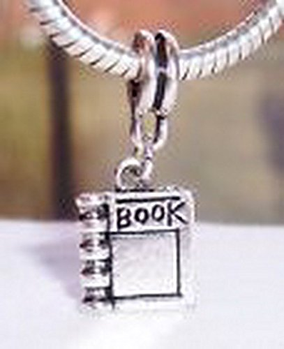 Beads Hut - Book Reader Read Journal Novel Dangle Bead for Silver European Charm Bracelets