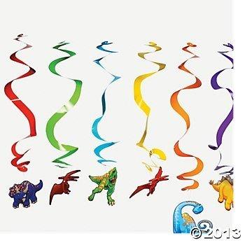 Dinosaur Hanging Swirl Party Decorations - 12 pcs
