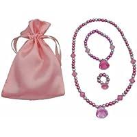 Pink & Silver Princess Jewelry Dress Up Set (Necklace, Bracelet, & Ring In A Pink Satin Bag)