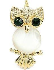 Libaraba Lovely Owl Pendant With Green Eyes Necklace