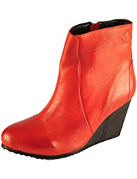 Salt N Pepper Fevi Red 100% Genuine Leather Women Wedge Ankle Boots