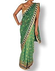 Sea Green Half And Half Net Georgette Saree With Embroidery Pallu
