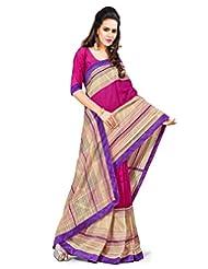Inddus Women Pink & Beige Color Art Silk Fashion Saree