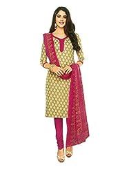SGC SGC Green Cotton Printed Unstitched Churidar Kameez - (SGS- 223)