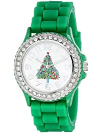 Geneva Women's 5573_xmasgreentree Holiday Boyfriend White Dial With Christmas Tree And Crystals Watch