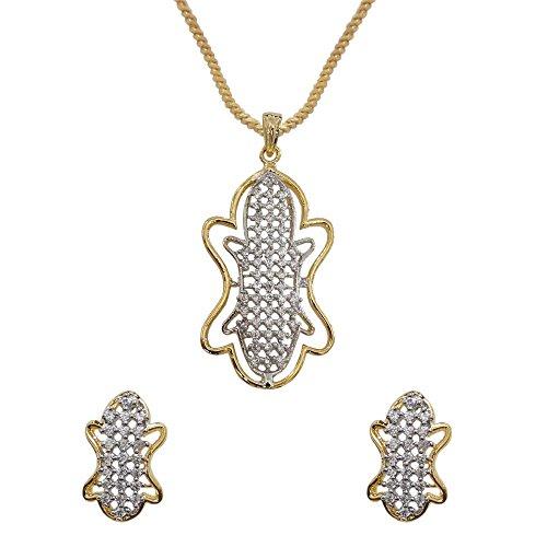 Sheetal Jewellery Silver & Golden Brass & Alloy Pendant Set For Women - B00TIH0PCO