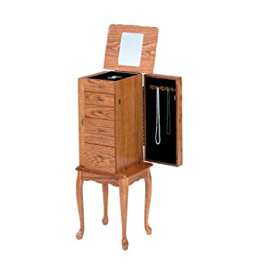 small jewelry armoires bernards small jewelry armoire oak home 4303