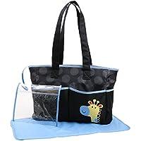 Cudlie! Double Pocket Diaper Bag Tote With Giraffe Applique, Black/Blue