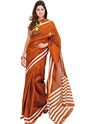 Exotic India Plain South Cotton Saree From Hyderabad With Woven Stripes
