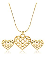 Eclat Brass Gold Plated Heart Pendant Set For Women New Fashion Jewelry (314126G)