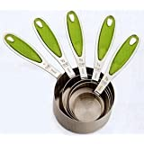 Set Of 5 Green Grip Stainless Steel Measuring Cups