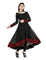 Clickedia Women Georgette Black Red Embroidered Anarkali Suit- Dress Material