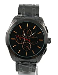 SHVAS Forest Collection Analogue Black Dial Men's Watch (black)