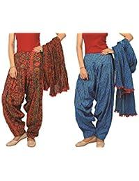 Rama Set Of 2 Printed Blue & Orange Colour Cotton Full Patiala With Dupatta Set