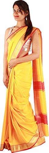 Beautiful Yellow Casual Saree Art Silk Plain Zari Work Designer Sari