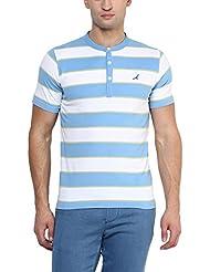American Crew Men's Striped Henley Half Sleeves T-Shirt (White, Sky Blue & Light Green)