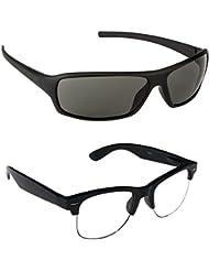 New Stylish UV Protected Combo Pack Of Sunglasses For Women / Girl ( BlackWrap-ClearHFWayfarer ) ( CM-SUN-028 )