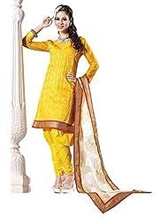 Indian Ethnic Designer Saree Yellow Cotton Exclusive By Triveni