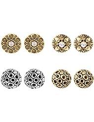 Shining Jewel Metallic Stud Earring Combo Pack Of 4 (SJEC_04)