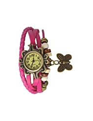 Evana Round Butterfly Elegant Anitique Analog Watch - For Women (pink)