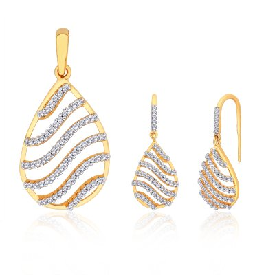 Peora Sparkling Waves Gold And Rhodium Plated Pendant Set With Micro Pave Setting PS111Gj