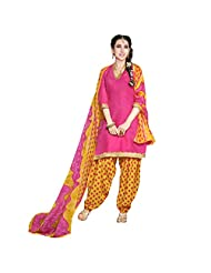 She Fashion Women's Cotton Suit With Print Straight Unstitched Stiched Suit [Karishma8004_Blue_Free Size]