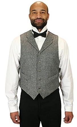 Victorian Men's Vests and Waistcoats Herringbone Tweed Vest $72.95 AT vintagedancer.com