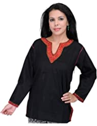 Exotic India Kashmiri Kurti With Hand Embroidery On Neck