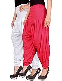 Navyataa Women's Lycra Dhoti Pants For Women Patiyala Dhoti Lycra Salwar Free Size (Pack Of 2) White & Pink