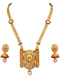 Sitashi Imitation/Fashion Jewellery Ethenic Antique Gold Plated Long Chain Pendant Necklace Set For Girls And...