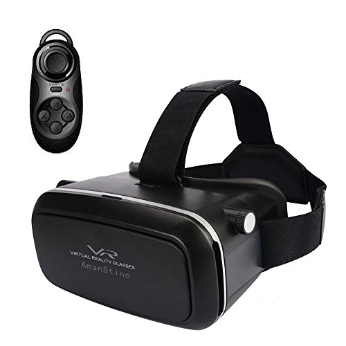 Amanstino 3D Virtual Reality Glasses with Head-mounted Headband for 3.5-6.0-Inch Smartphones -...