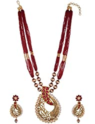 Arihant Jewellers Maroon Gold Plated Multi-Strand Necklace Set For Women (ML-125)