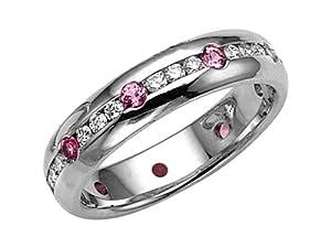 Karina B Genuine Pink Sapphire Eternity Band Platinum 950 Size 8